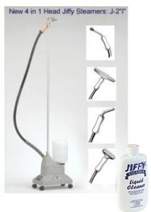 "Jiffy, J-2""I"", Includes  9"" bent aluminum pipe head attachment for hard to reach areas, ""B"" brush steam cleaning head, 6"" wide metal steam head, and a 12"" wide carpet unrolling steam head.ulti-purpose ,Steamer Cleaner, with 4 Interchangeable, Steam Heads, 5.5 Foot Hose Attachment"
