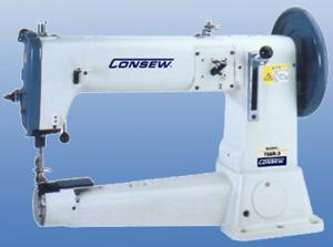 Consew 756R-3 Extra Heavy Duty, Single Needle, Cylinder Long Arm Lockstitch Machine, Lower Needle, Upper Feed & Power Stand