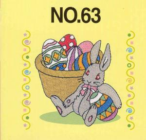 Brother SA363 No.63 Bunny Embroidery Card For Brother, Baby Lock, Bernina Deco 500, 600, 650, Simplicity, & White