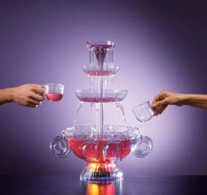 "Nostalgia Electrics, LPF-210, Lighted Party fountain, 3 tier, cascading tower, 8 x 6 Oz Cups, 1Gallon, 160 Oz liquid, 12"" in diameter, 23 1/2"" high."