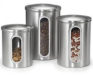 Polder 3346-75, - Set of 3, Window Canisters, 2, 3 & 4 Quart, Sugar, Flour, or Bulk, Dry Food, Pop Off Lid, Brushed stainless, Vertical view, of contents