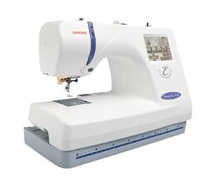 Janome, 350E, Embroidery Only,  (Bernina 340 Deco) , Machine with, USB Port, &amp;  Auto Thread, Trimming Controls, Like Bernina 340, Janome MC350E 25/5Yr Extended Warranty, Embroidery Machine, 5.5 x 7.9&quot; &amp; 4.3&quot; Hoops, 100 Designs 3 Fonts, USB Stick CF Card Ports, Thread&amp;Trim, 650SPM