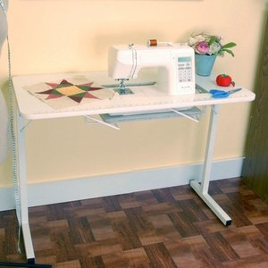 "Arrow 98601, Gidget Sewing, Embroidery, Serger, Machine, Craft , & Hobby Portable Table 40x 20x28""H, Folding Steel Legs, Fully Assembled, 7 3/8 x 17.5 Cutout*  , Roberts 299,Arrow 98601 Gidget 1 WHITE  Portable Sewing & Serger Machine Craft and Hobby Table, 40x20x28""H, Folding Steel Legs, 7 3/8x17.5"" Cutout Platform, 25Lbs"