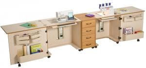 "Sylvia 1810 Complete Combination: Dual Sewing Machine & Serger  AirLift Cabinet. Combo 810Q, 350 & 620 with Extensions, 12.5x24"" Opening"