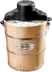 Aroma, AIC-204EM, 4-Quart, Traditional, Solid Pine, Wooden Bucket, Ice Cream Maker, Machine, Hand, &amp; Electric Crank, Recipe Book, Aluminum Canister, to Freeze