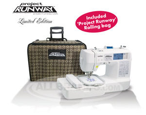 Brother, LB6800PRW, Project Runway, Roll,Bag,  Computer, 67 Stitch, Sew, 4x4, Embroidery Machine, 4 Downloads* USB Cable, 70 Designs, 5 Fonts, 10 BH, Thread  Trim, 8 Feet, ONLINE