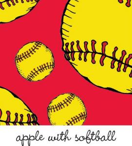 Kiwi Embroidery Paper #77 Apple With Softball 8.5in x 11in Sheet