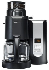Krups KM7000, Pro Grinder, Brewer, 10 Cup, CoffeeMaker, BLACK, 11x11x15 , 1000W, 5 Grinds, 3 Strengths, 2-10 Cup Digital, 2-4 Aroma, Brew Pause, Filter, Auto Off