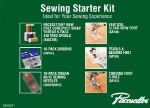 Brother, Sewing, Starter Kit, SASCKIT1, 6 Poly Threads , 10 SA156 Bobbins, 10 Needles, 3 Feet, SA145 Clearview Applique, SA150 Pearl Sequins, SA157 Cording