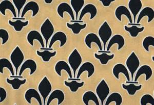 "Fleur De Lis Black and Gold EQ60187 100% cotton pattern  45"" Fabric"