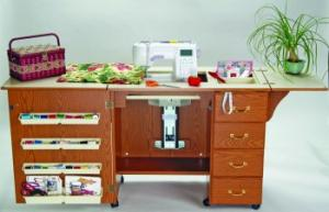 Arrow 98300DL, Oak, 98301DL, White, or 98302DL, Cherry, 4 Drawer, Air Lift, Sewing Machine Cabinet