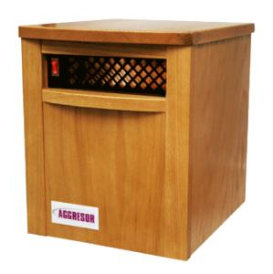 aggressor, agressor, Aggresor SH-750 Heater SH750, 250W, Solid Oak Cabinet, Life Wash Filter, Sealed Ball Bearing Fan, 6 Infrared Quartz Furnace Lamps, SunHeat  27Lb, 500'