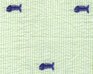Fabric  Finders 15 Yard Bolt $11.33 A Yd Blue Bone Fish On Green Seersucker 100% Cotton, 60""
