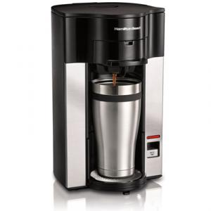 Hamilton Beach 49990 Personal Cup Stay or Go Pod Brewer, Balanced Brew Time, Easy Fill Reservoir, Front Access Basket, Dripe Free, Auto Shut Off, Travel Mug
