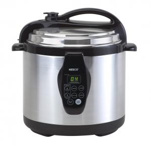 Nesco PC6-25 Digital Pressure Cooker, 6 Quart Capacity, Self-Locking Lid, Programmable with Presets, LED Display, Cooking Rack, Cool-Touch Lid, Brushed Stainless Steel Exterior