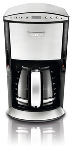 Krups KM720D50 12 Cup Glass Filter Coffee Maker, LCD Screen, 2 Water Level Indicators, Keeps Warm for an Hour, Auto Shut Off, 950 Watts, Programmable