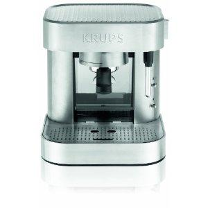 Krups, Krups XP601050, Stainless Stee,l Mechanical, Espresso Machine, 50oz, Transparent, Front Access Water Tank Sliding System, 3 Functions, Heating Cup Grid