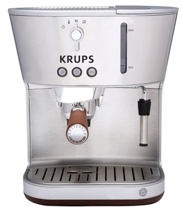 Krups XP4600 Silver Art Espresso Machine W/ Precise Tamp,Thermoblock System W/ 15 Bar Pump,Programmable,Universal Filter Holder,Steam Frothing Nozzle