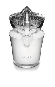 Krups ZX720143 White Acrylic Juicer, Stainless Steel Anti Drip Valve, Premium Translucent Acrylic Design, Plastic Protection Cover