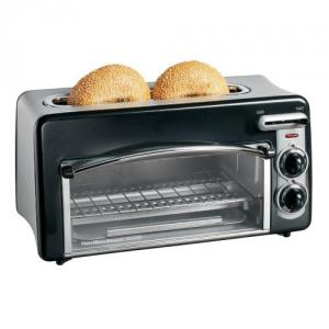 "Hamilton Beach 22708 Toastation Two Slice Toaster Oven, Compact 2 in 1 Appliance, 1 1/2"" Toasting Slot, Electronic Toasting Shade,Slide Function Lever"