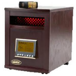 SunHeat SH-1500RC Electronic Infrared Zone Heater with Remote Control (Black Cherry), Heavy Duty Casters, 1500 Watts, 12.5 Amps, Digital Thermostat, 24HR