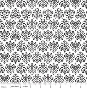 "Riley Blake Designs 15Yd Bolt 7.34 A Yd C2696 White Tuxedo Damask 100% Cotton  45""Fabric"