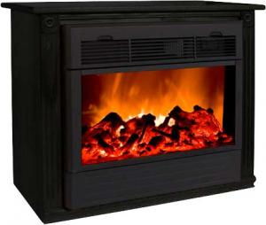 Heat Surge HS-RG4 Amish Crafted Roll-n-Glow Electric Space Heater Fireplace (Black), 4606 BTU's, Fireless Flame, 1500 Watts, 325 sq. ft. Coverage, Casters