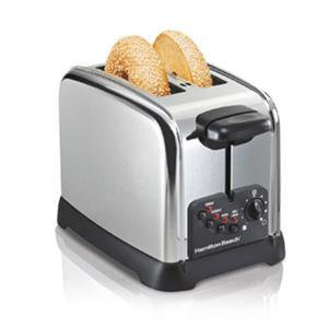 Hamilton Beach 22790 - 2 Slice Classic Chrome Toaster, Bagel Setting, 4 Toasting Functions, Toast Boost, Extra Wide Slots, Crumb Tray, Auto Shut Off