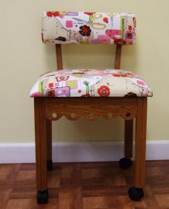 "Arrow 4000 Gingerbread Sewing Chair OAK, Alexander Henry Fabric, Notions Motif, 4 Casters, Lumbar Support 30""Height, OakWoodLegs 20""Seat 16x18""Cushion"