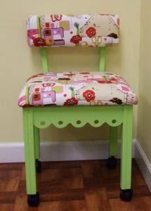 "Arrow 4004 Gingerbread Sewing Chair GREEN, Alexander Henry Fabric, Notions Motif, 4Casters, LumbarSupport 30""Height, OakWoodLegs 20""Seat 16x18""Cushion"