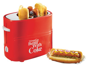 In Stock, Nostalgia Electrics, Coca-Cola,   HDT600COKE, Pop-Up, 2 Hot Dog, Cooker, and 2 Bun, Toaster, Adjustable Heat, Mini Tongs, Removable Basket, and Drip Tray