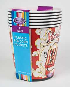 New Nostalgia Electrics PPB600 4-Quart Reusable Plastic Popcorn Buckets, 6-Pack