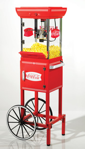 "Nostalgia Electrics, Coca Cola, CCP399COKE, In Stock  , Old Fashioned, Movie Time, Popcorn Maker, Cart, 48""High, Stainless Steel, Kettle, Built In Stirring, Under Storage"