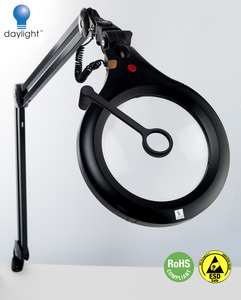 "Daylight U22091 ESD Ultra Slim Magnifying Lamp XR, Wider 7"" 175mm Lens 50% Lighter than 5"" Lens Models, Brighter 28W Tube 150W equivalent, Static Safe"