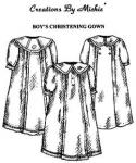 Creations by Michie, CB112, Boy's Christening Gown, 112 Pattern, Size 3-12mo