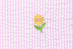 "Fabric  Finders, 15 Yard Bolt, $11.33 A Yd, Embroidered Daisy, on Pink Seersucker, 100% Cotton, 60"" wide"