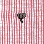 "Fabric Finders 15 Yard Bolt at $13.33/Yd, Embroidered Elephant on Red Seersucker, 100% Cotton Fabric, 60"" Wide"